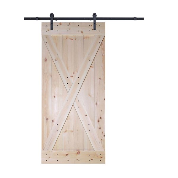 X-Panel Solid Wood Panelled Pine Slab Interior Barn Door by Calhome