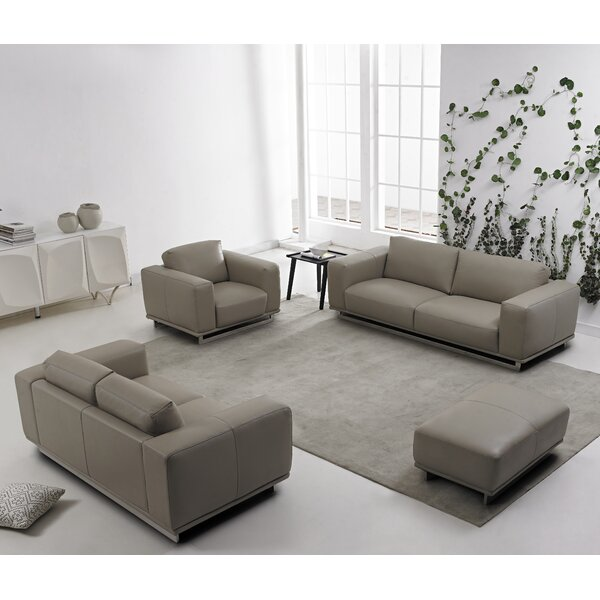 4 Piece Leather Living Room Set by David Divani Designs