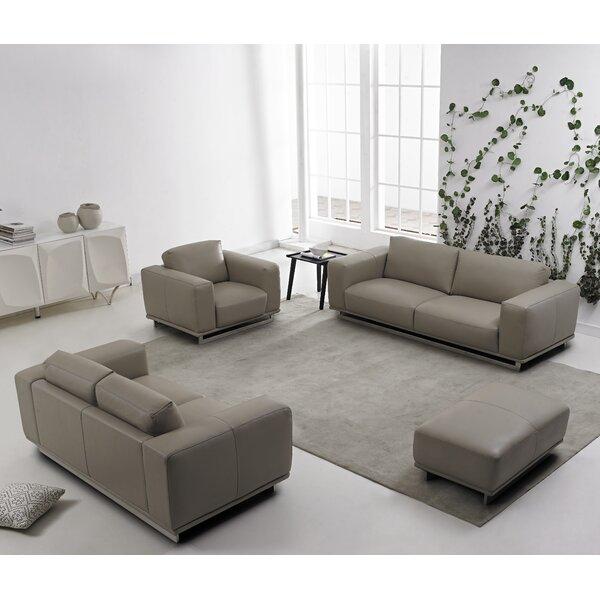 #1 4 Piece Leather Living Room Set By David Divani Designs Read Reviews