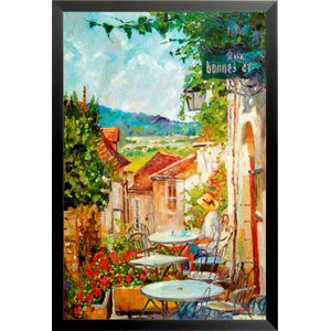 'Provence Cafe Morning Poster' by David Lloyd Glover Framed Painting Print by Buy Art For Less