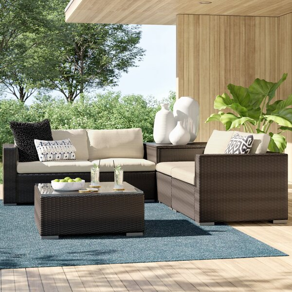 Coast 6 Piece Rattan Sectional Seating Group with Cushions by Sol 72 Outdoor