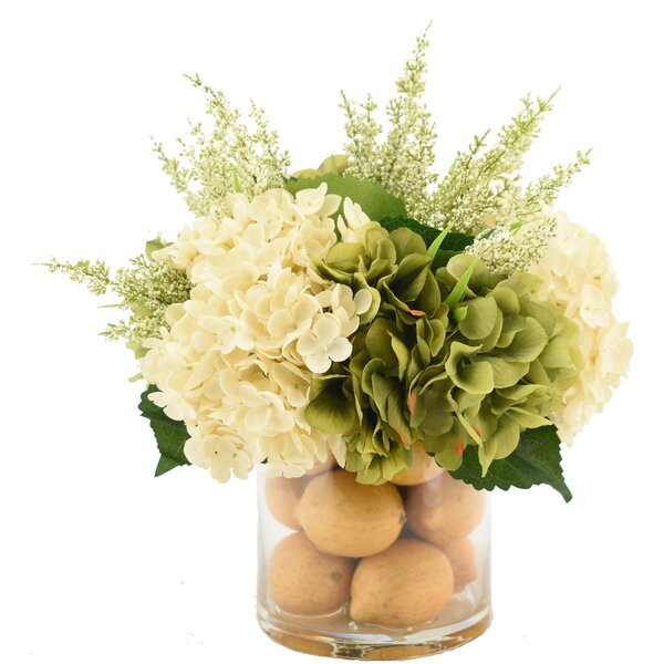 Hydrangeas Flower Centerpiece in Decorative Vase by Darby Home Co