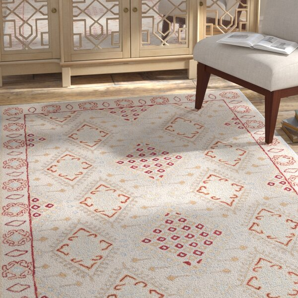 Ebling Hand Tufted Wool Ivory/Red Area Rug by Bloomsbury Market