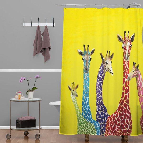 Clara Nilles Jellybean Giraffes Extra Long Shower Curtain by Deny Designs
