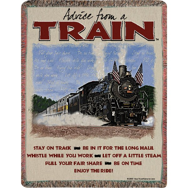 Advice from a Train Text Tapestry Cotton Throw by Manual Woodworkers & Weavers