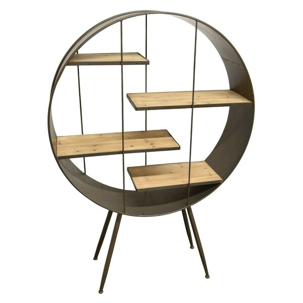 68 H x 47.5 W Wooden and Metal Round Shelving Unit by Benzara