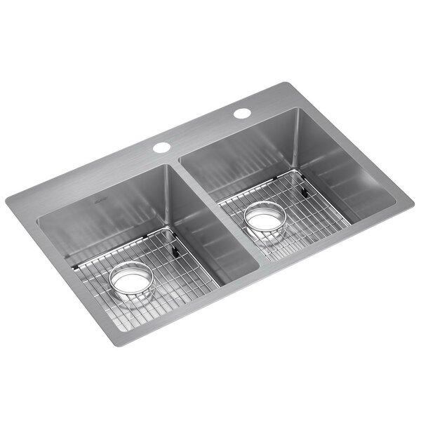 Elkay Crosstown Stainless Steel 33 X 22 X 9, Equal Double Bowl Dual Mount Sink Kit