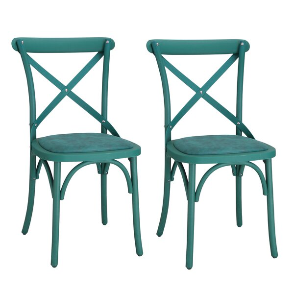 Eco-Friendly Vintage Genuine Leather Upholstered Dining Chair (Set of 2) by Adeco Trading