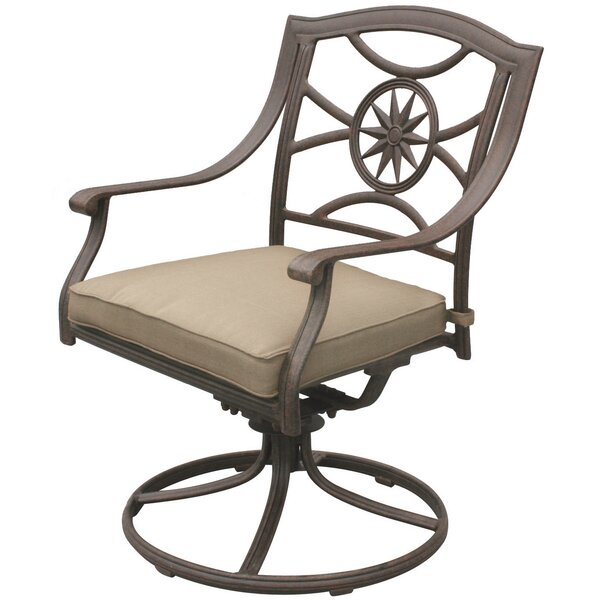 Lenzburg Swivel Patio Dining Chair with Cushion by Alcott Hill