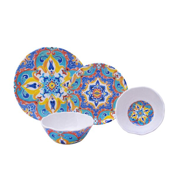 Romella 12 Piece Melamine Dinnerware Set, Service for 4 by 222 Fifth