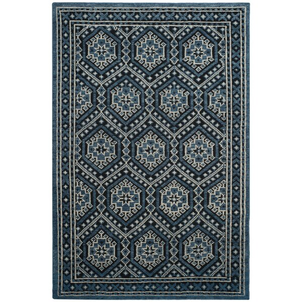 Baum Hand-Knotted Navy Area Rug by Darby Home Co