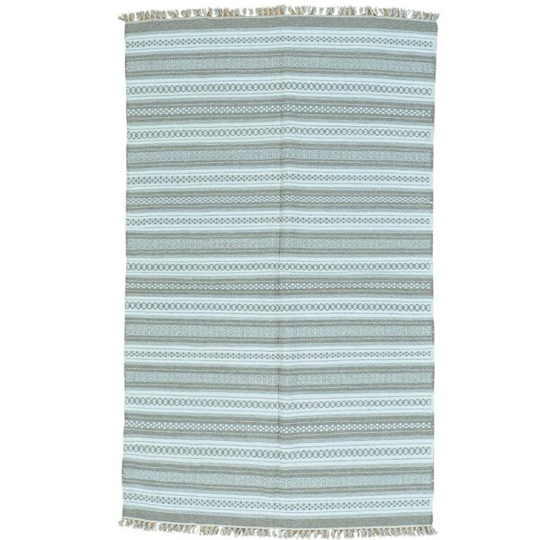 Flat Weave Striped Durie Kilim Hand-Knotted Ivory Area Rug by Bloomsbury Market