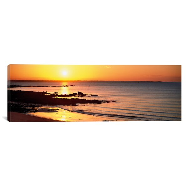 Panoramic Sunrise over the Beach, Beg Meil, Finistere, Brittany, France Photographic Print on Wrapped Canvas by iCanvas