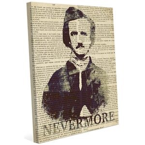 'Nevermore Text' Memorabilia on Wrapped Canvas by Click Wall Art