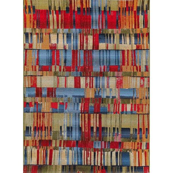 Coronel Paintbox Red/Blue Indoor/Outdoor Area Rug by Ebern Designs