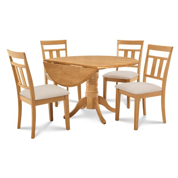 Chesterton 5 Piece Drop Leaf Solid Wood Dining Set by Alcott Hill Alcott Hill