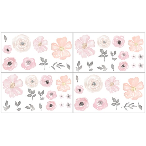 Watercolor Floral 4 Piece Wall Decal Set by Sweet Jojo Designs