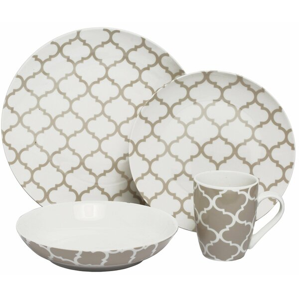 Harmony Coupe 16 Piece Dinnerware Set, Service for 4 by Melange