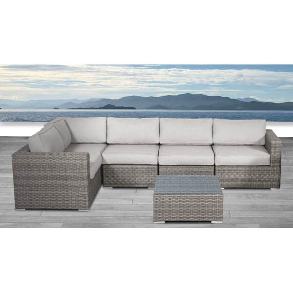 Whitmer 6 Piece Rattan Sectional Seating Group with Cushions by Rosecliff Heights