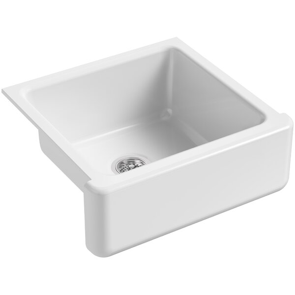Whitehaven Self-Trimming 23-11/16 L x 21-9/16 W x 9-5/8 Under-Mount Single-Bowl Sink with Tall Apron by Kohler
