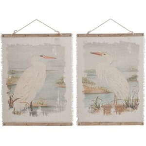 Pelican Wood and Linen Wall Art (Set of 2) by Birch Lane™