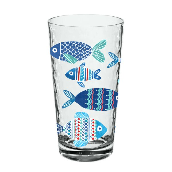 Emilio Nautical Jumbo 21.5 oz. Acrylic Every Day Glass (Set of 6) by Breakwater Bay