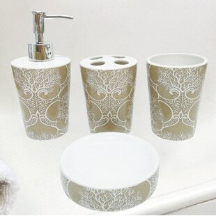 Almont Coral Life Ceramic 4 Piece Bathroom Accessory Set