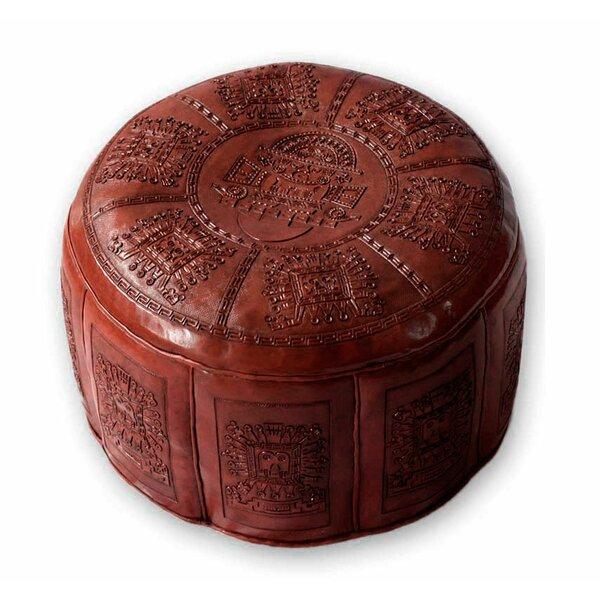 Sayles Inca Light Leather Ottoman by Bloomsbury Market
