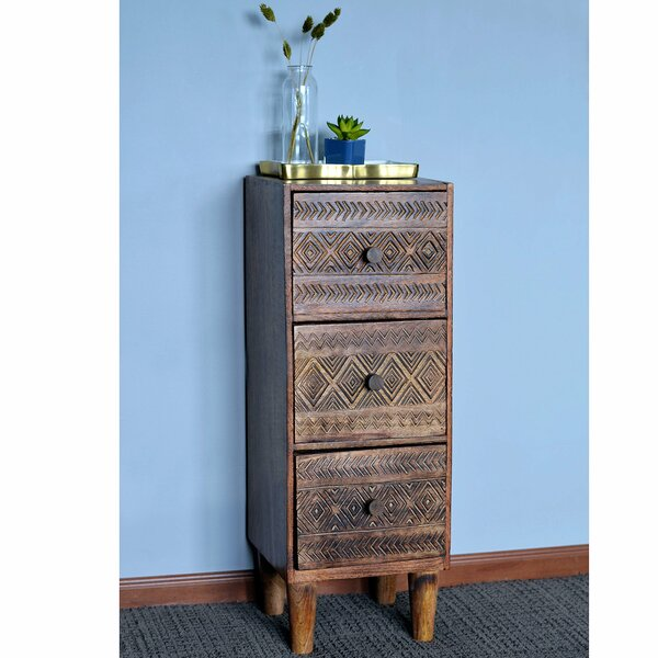 Steubenville Naturally Modern 3 Drawer Nightstand by Bungalow Rose