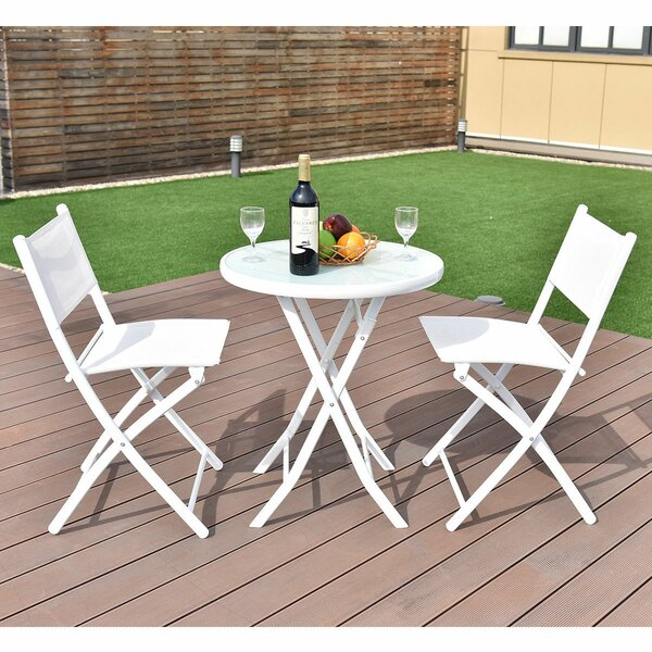 Naczi Folding Garden Backyard 3 Piece Bistro Set by Latitude Run