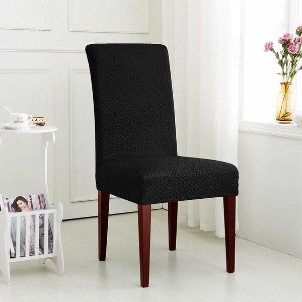 Seersucker Jacquard Fabric Stretch Box Cushion Dining Chair Slipcover (Set of 4) by Latitude Run