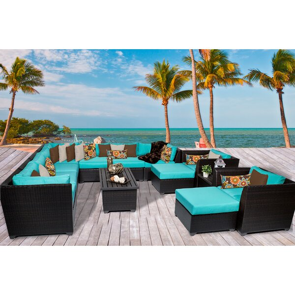 Barbados 13 Piece Rattan Sectional Set with Cushions by TK Classics