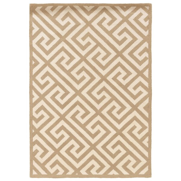 Hand-Hooked Brown/Ivory Area Rug by The Conestoga Trading Co.
