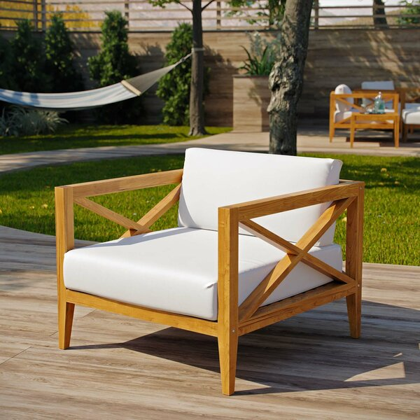 Dowell Teak Patio Chair with Cushions by Breakwater Bay