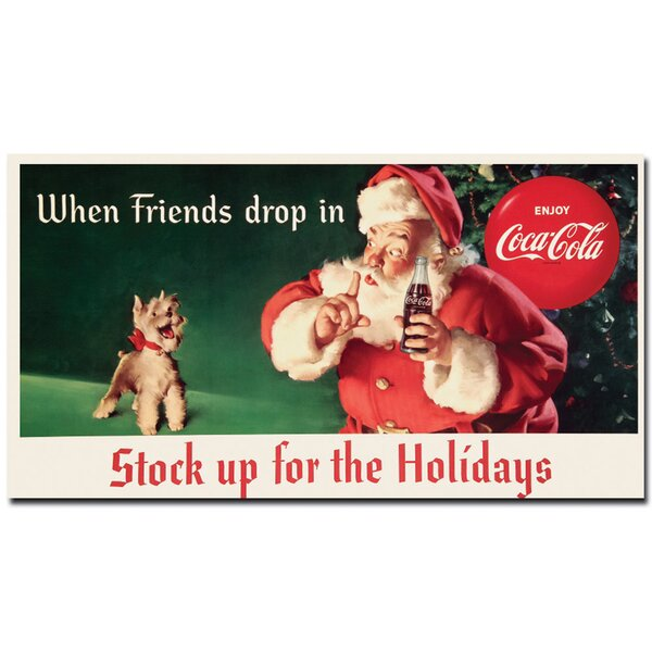 Coke Santa w/ Dog - Stock up for the Holiday Vintage Advertisement on Wrapped Canvas by Trademark Fine Art