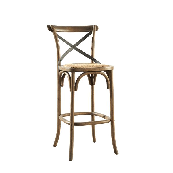 Bentwood Bar Stool With Metal Back (Set Of 2) By Furniture Classics