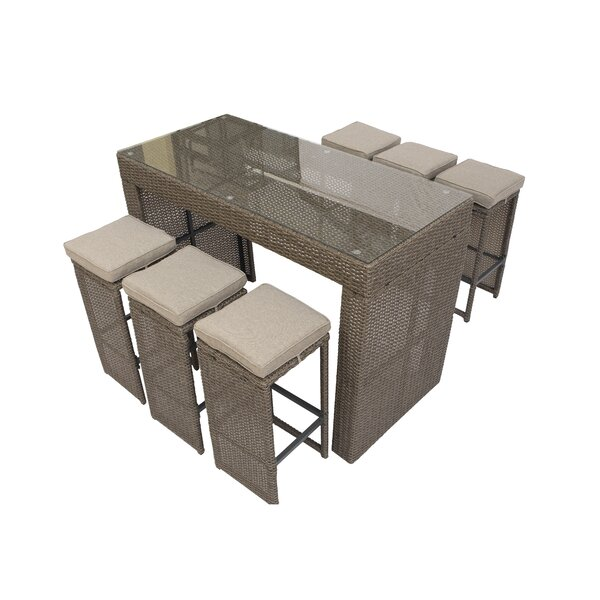 Nowak 7 Piece Bar Height Dining Set with Cushions by Willa Arlo Interiors