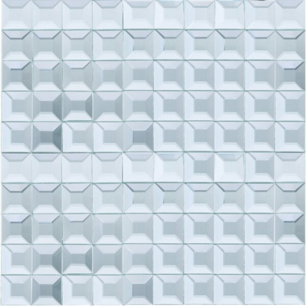 Grid Mirror 1 x 1 Glass Tile in Blue by Multile