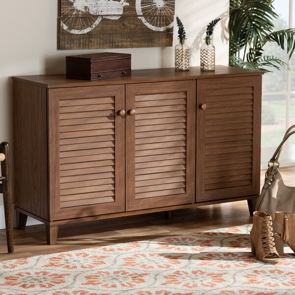 Modern and Contemporary 16 Pair Shoe Storage Cabinet