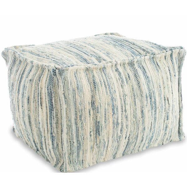 Dravin Denim Rag Woven Pouf by Highland Dunes