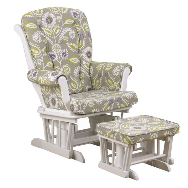 Bodnar Floral Glider with Ottoman by Harriet Bee