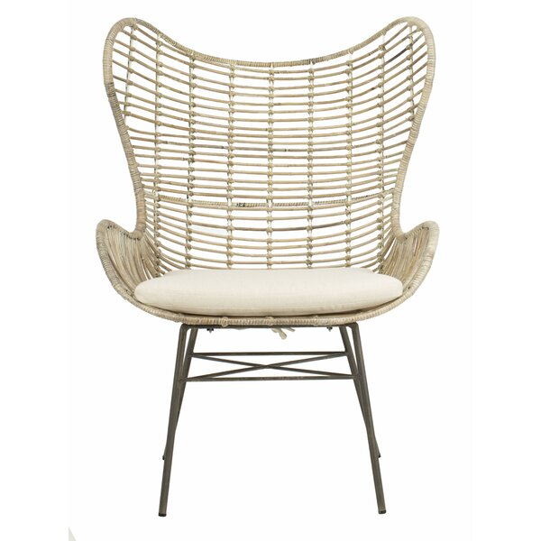 Brindley Rattan Wingback Chair by Bungalow Rose