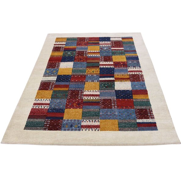 One-of-a-Kind Rothenberg Patchwork Hand-Knotted Navy Blue Area Rug by Loon Peak