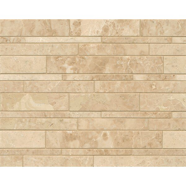 Linear Random Sized Marble Mosaic Tile in Cappuccino by Grayson Martin