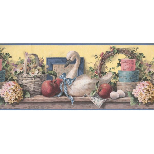 Bouton Vintage Flower Baskets Swan Fruits Kitchen Extra Wide 10.25 L x 180 W Food and Beverage Wallpaper Border by August Grove