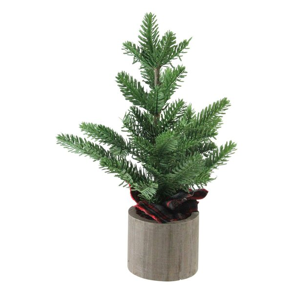 16 Green Artificial Christmas Tree in Wooden Table Top Decoration by The Holiday Aisle