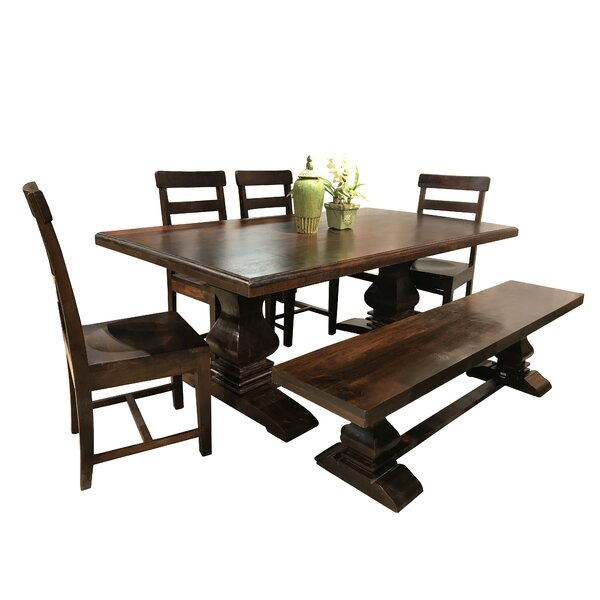 Aguirre 6 Piece Solid Wood Dining Set by Longshore Tides