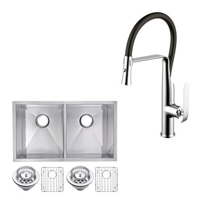 all in one stainless steel 31   x 18   double basin undermount kitchen sink with faucet elkay dayton 25   x 19   double basin top mount kitchen sink      rh   wayfair com