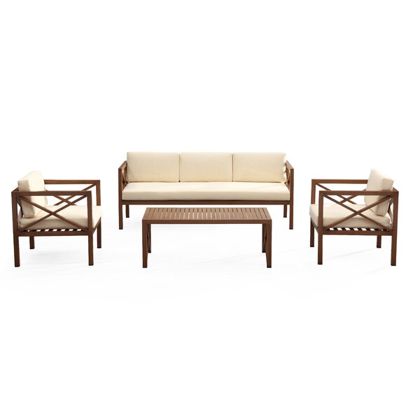 Kasandra Outdoor 4 Piece Sofa Seating Group with Cushions by Rosecliff Heights Rosecliff Heights