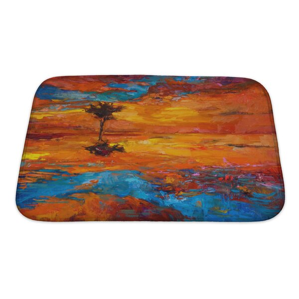 Art Alpha Abstract Lonely Tree in Front of Sunset Bath Rug by Gear New